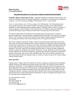 geoLOGIC and UNIVERSITY OF WESTERN ONTARIO Press Release