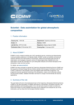 Scientist - Data assimilation for global atmospheric composition