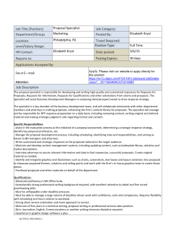 Job Title [Position]: Proposal Specialist Job Category: Department