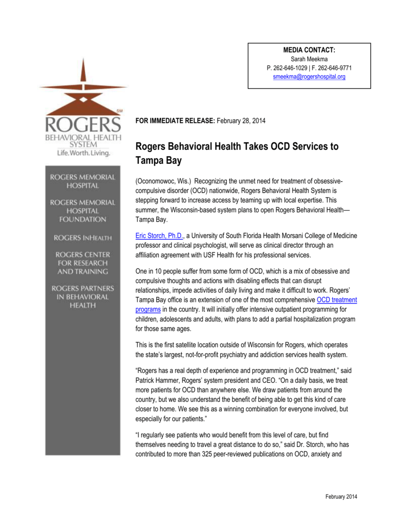 Rogers Behavioral Health Takes OCD Services to Tampa Bay
