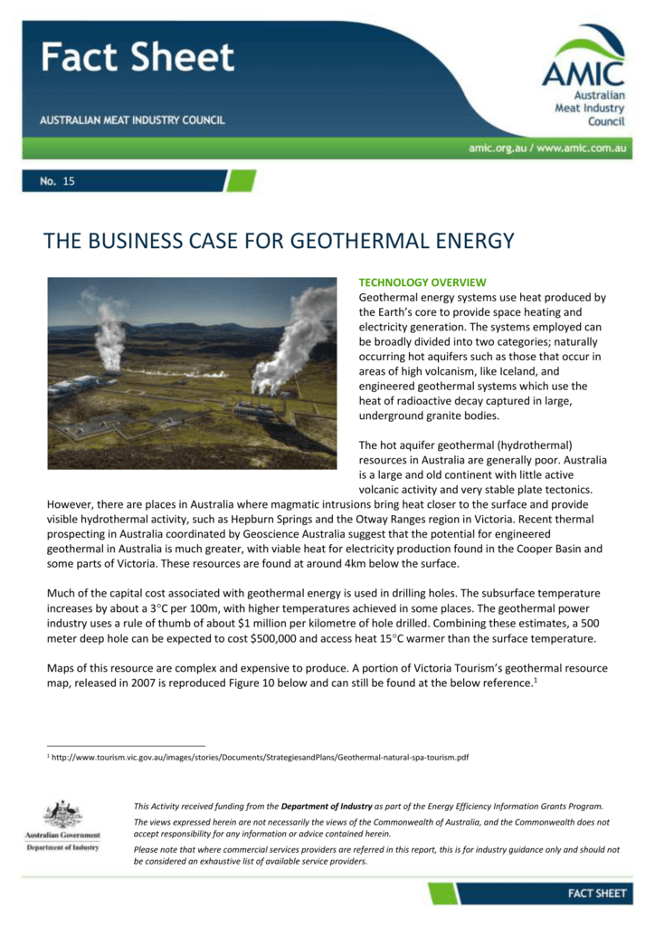 The Business Case for Geothermal Energy