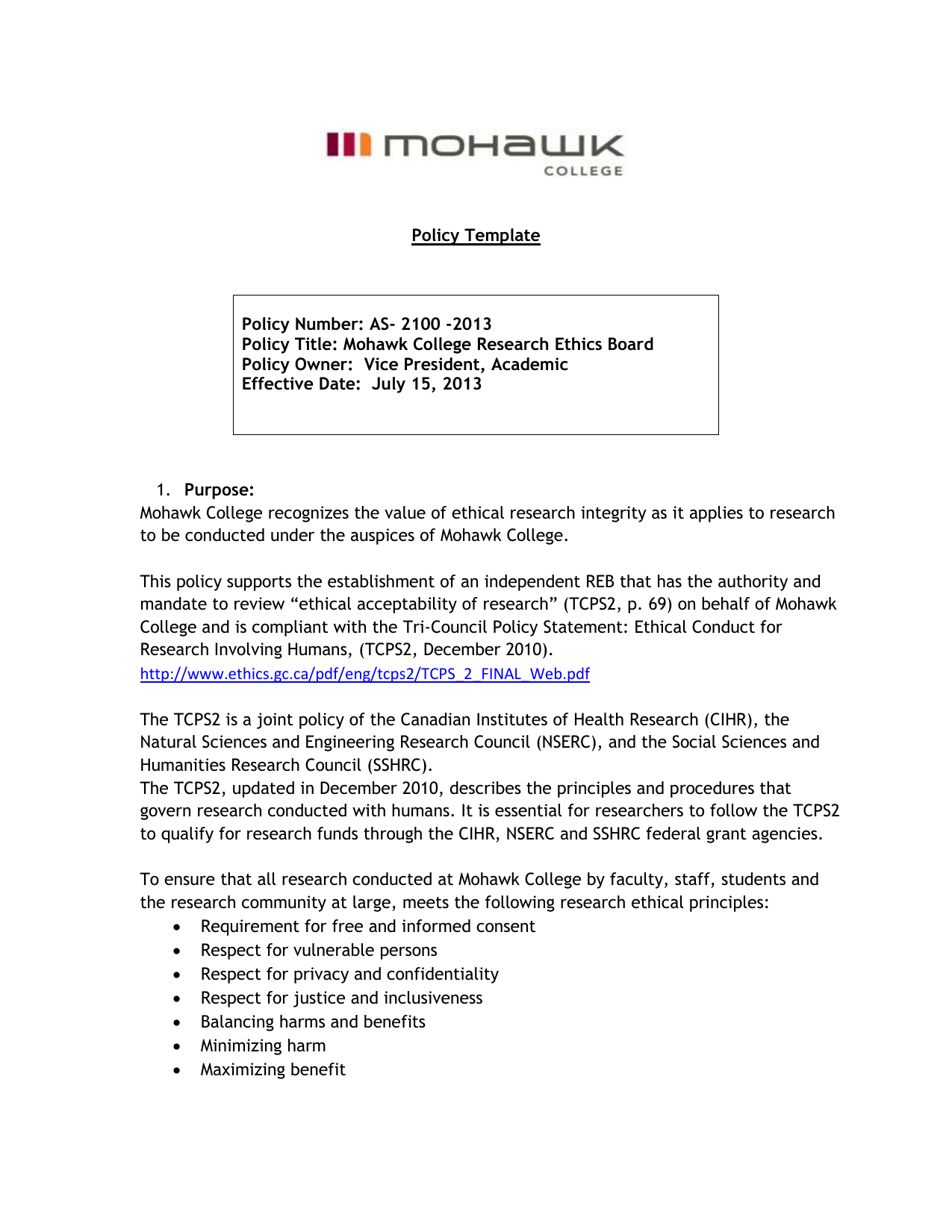 Policy Template - Mohawk College Research Ethics Board