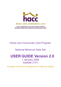 HACC MDS User Guide and Data Dictionary
