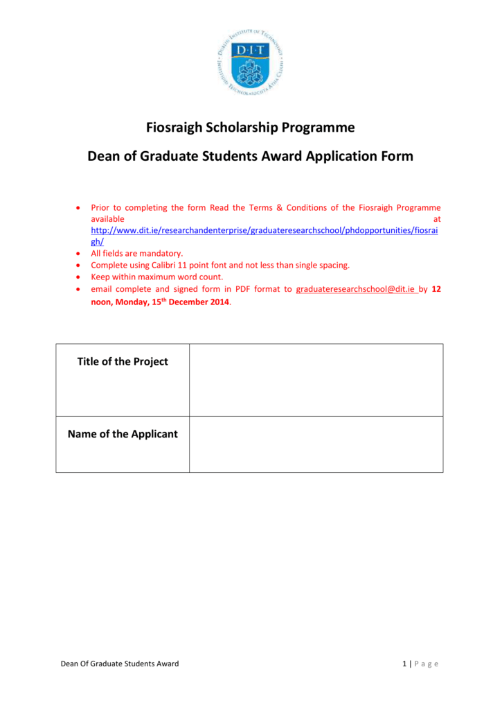 Dean Of Graduate Students Award Application Form