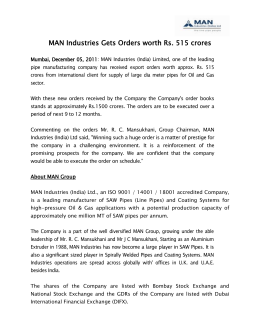 MAN Industries Gets Orders worth Rs. 515 crores