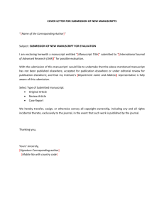 Covering Letter Template - International Journal of Advanced