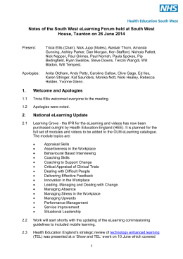 SW eLearning Forum Notes 26 06 14