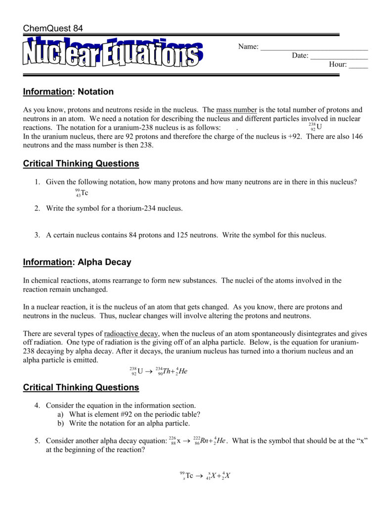 worksheet Nuclear Equation Worksheet critical thinking questions