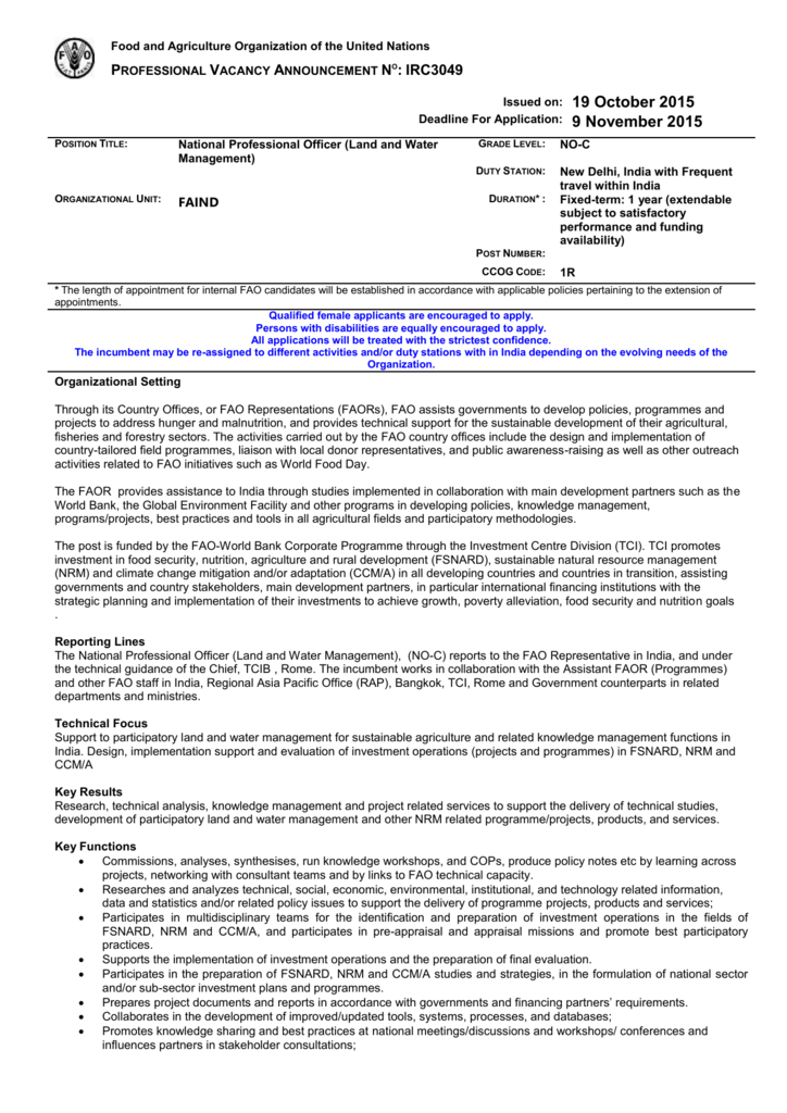 IRC3049 - National Land and Water Management Officer