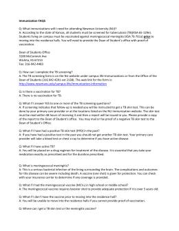 Bacterial Meningitis Vaccination Verification Form