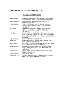 UPGPFS-30-3: GOTHIC LITERATURE Reading List 2011-2012