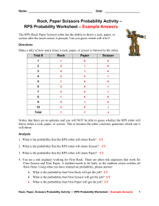 RPS Probability Worksheet – Example Answers