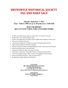 BRUNSWICK HISTORICAL SOCIETY TAG AND BAKE SALE