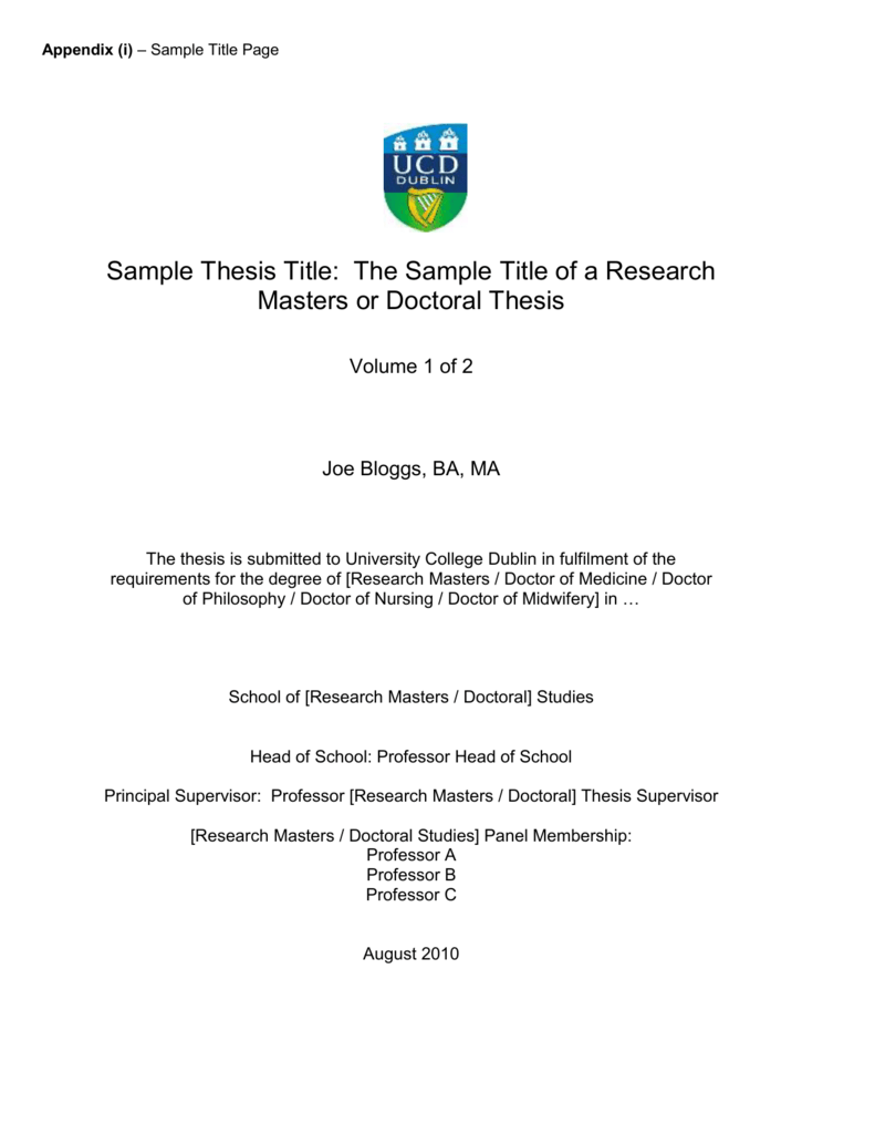 ucd thesis submission deadline