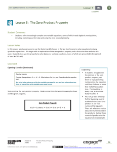 Lesson 5: The Zero Product Property