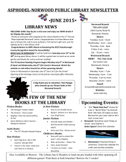 asphodel-norwood public library newsletter ÿjune 2015ÿ