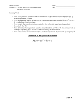 Lesson 3-7 Quadratic Formula