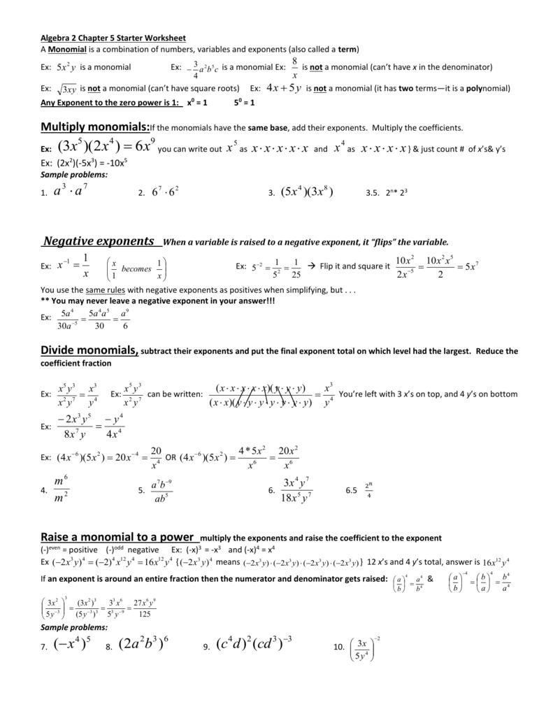 worksheet Monomials Worksheet algebra 2 chapter 5 starter worksheet