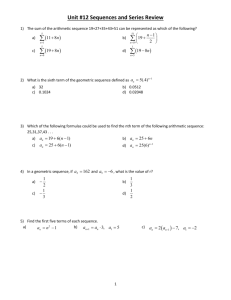Unit #12 Sequences and Series Review