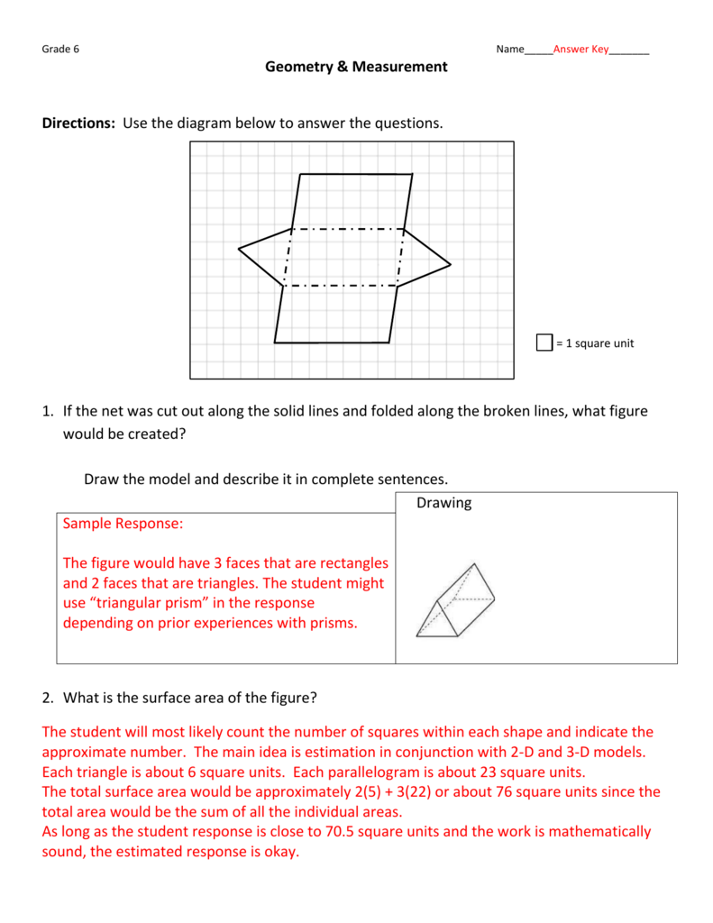 Grade 6 Answer Key - Geometry and Measurement
