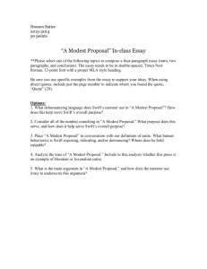 "Honors Satire 2013-2014 50 points ""A Modest Proposal"" In"