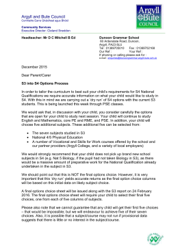 Dunoon Grammar School S3 into S4 Options Letter