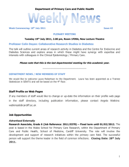 PCPH Weekly News - Issue 42 - School of Medicine
