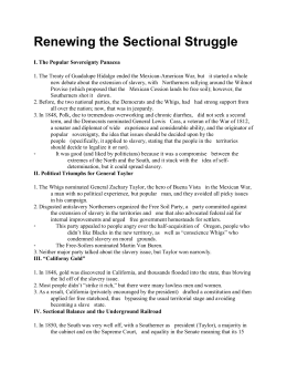 Ch. 18 - Renewing the Sectional Struggle