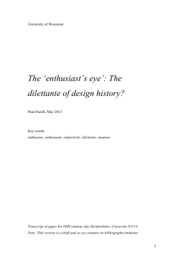 `enthusiast`s eye`: The dilettante of design history?
