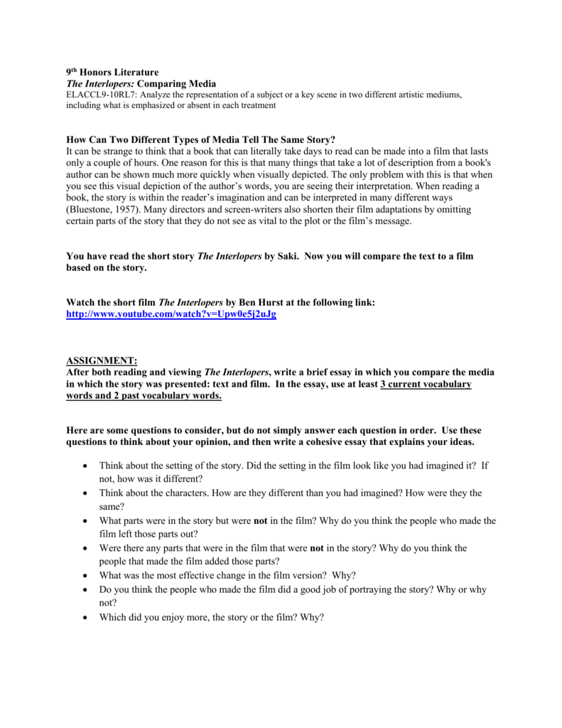 Research Paper Essay Example  Good Science Essay Topics also Position Paper Essay Interlopers Comparing Film To Text How To Write A Essay For High School