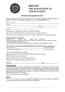 membership form - British Archaeological Association