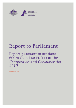 Report to Parliament - Australian Competition and Consumer