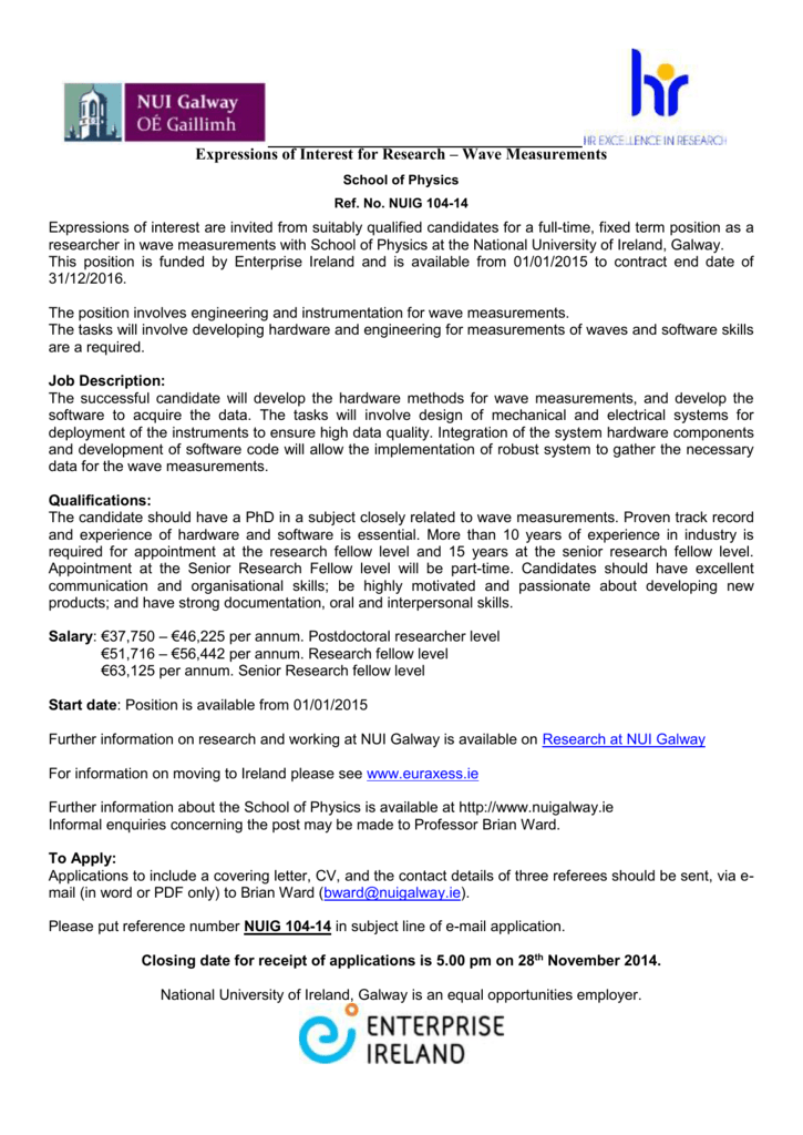 Expressions Of Interest For Research Wave Measurements School