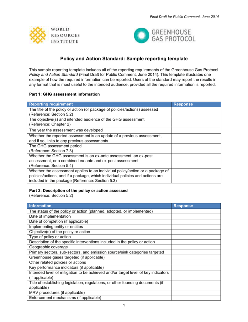 policy and action standard sample reporting template