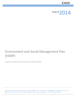 Environment and Social Management Plan (ESMP)
