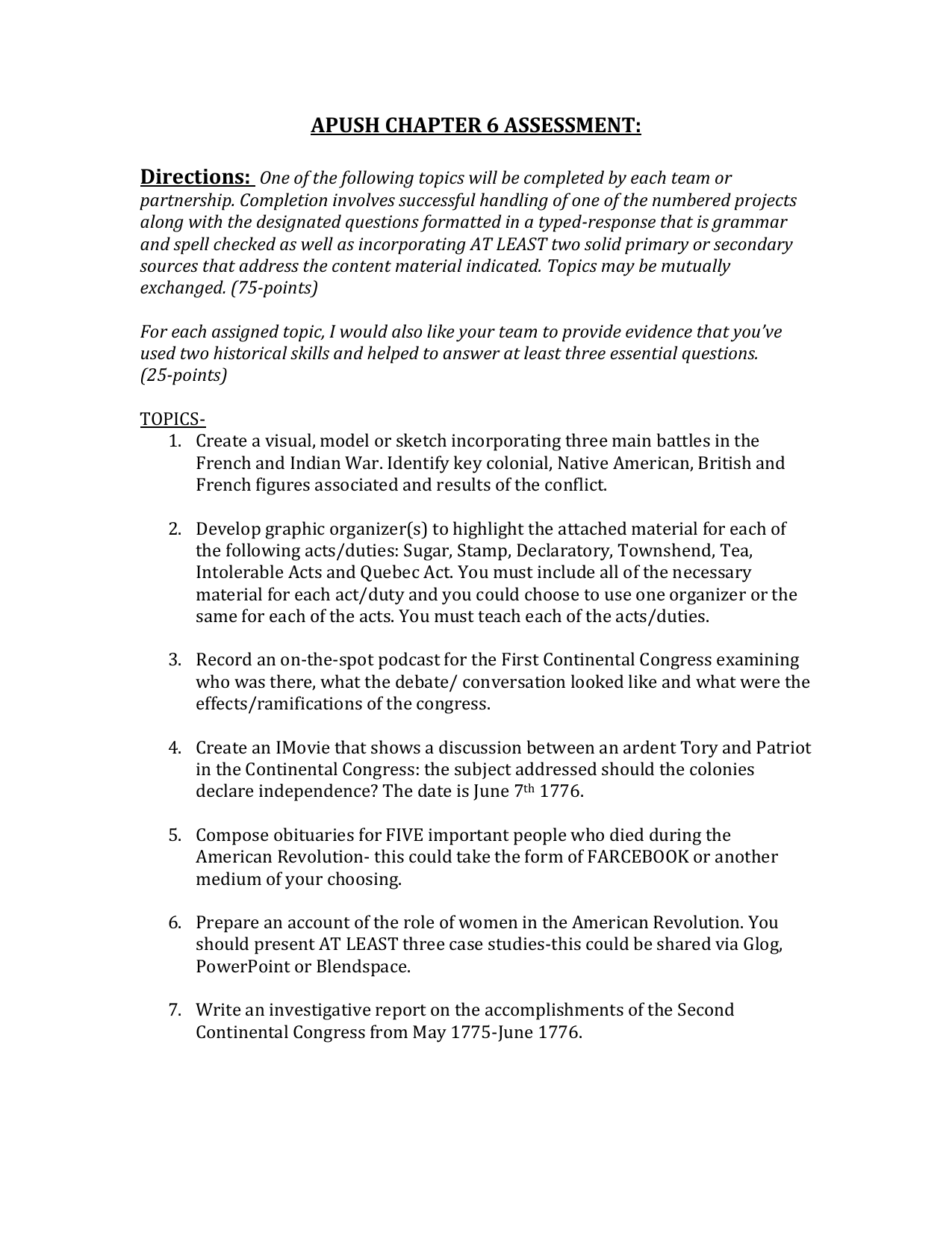 Apush essay questions