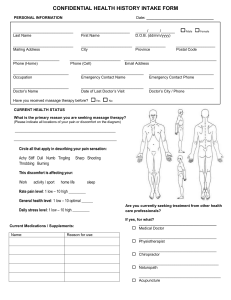 confidential health history intake form