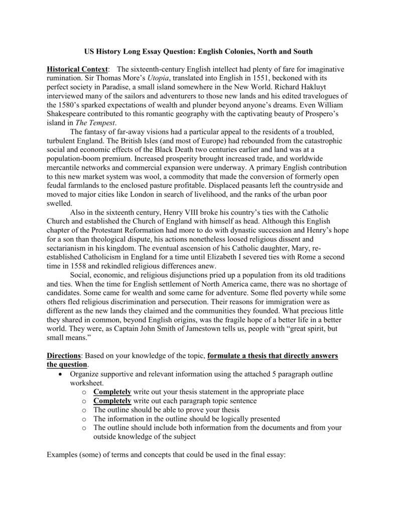 us history long essay question english colonies north and south