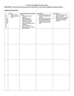 Historical Investigation Resource Sheet