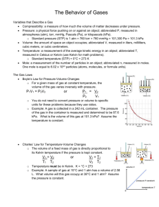 The Behavior of Gases notes page, filled in
