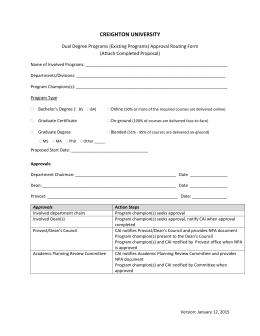 Dual Degree - Existing Programs Proposal Template