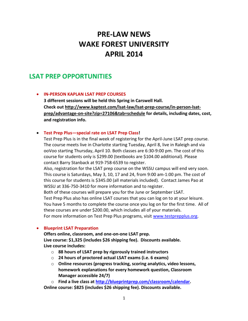 Pre law news wake forest university april 2014 lsat prep opportunities malvernweather Choice Image