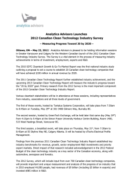 Analytica Advisors Launches 2012 Canadian Clean Technology