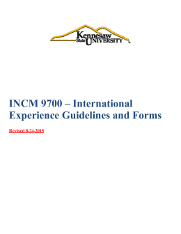 INCM 9700 – International Experience Guidelines and Forms