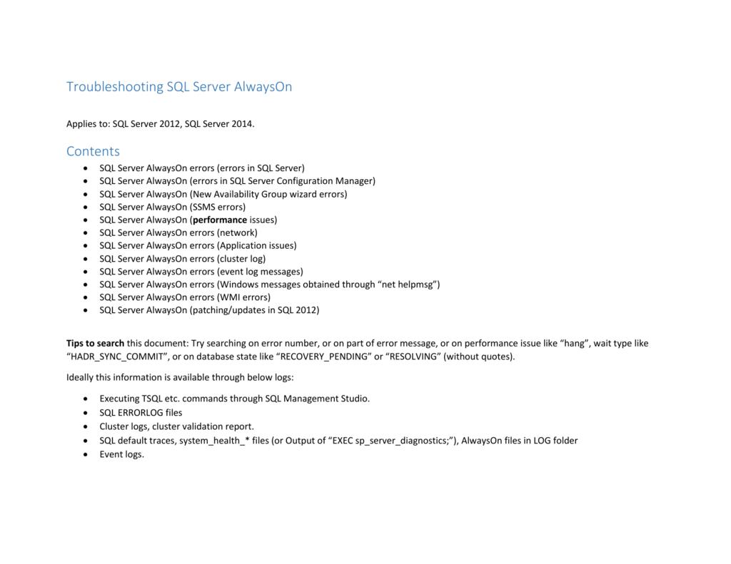 Troubleshooting SQL Server AlwaysOn 20130921