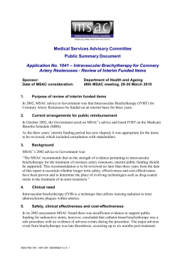 Public Summary Document - the Medical Services Advisory Committee