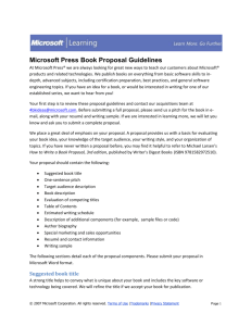 Microsoft Press Book Proposal Guidelines