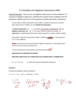 Variables & Algebraic Expressions Notes
