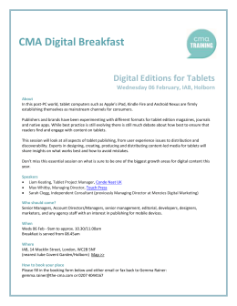 CMA Digital Breakfast Digital Editions for Tablets Wednesday 06