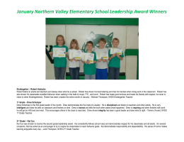 January Northern Valley Elementary School Leadership Award